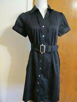 APT.9  women's black button down pocketed cotton dress size 12 fits size 10