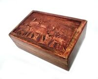 Wooden Box Multipurpose with Hand Carving Elephant Design 6x3x2 INCH for Jewelry