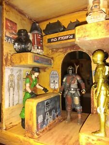 Custom star wars clone wars mandalorian droid shop diorama building 3.75