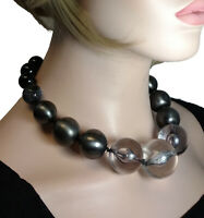 Chunky Clear Smoke Lucite Gray Beaded Statement Necklace