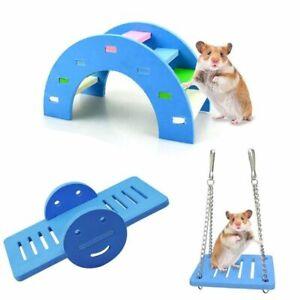 Hamster Toys Wooden Rainbow Bridge Seesaw Swing Toys Small Animal Climb Toy