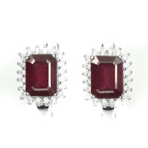 Octagon Red Ruby 8x6mm Cz 14k White Gold Plate 925 Sterling Silver Earrings