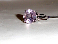 Purple Fluorite Round Solitaire Ring, 925 Sterling Silver, Size 7, 10.78(TCW)