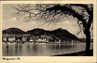 Königswinter am Rhein Postkarte ~1930 Blick über den Rhein mit Drachenfels