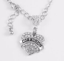 Communion Necklace communion crystal heart charm necklace Religious gift