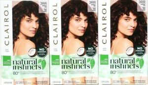 3 Clairol Natural Instincts New Improved 3RR Cherry Darkest Red Last 28 Shampoo