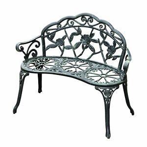 "40"" Outdoor Seat Backyard Seater Decorative Patio Aluminum Green"