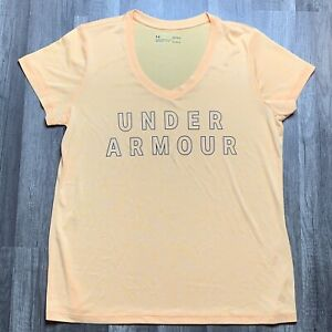 Under Armour Womens Size Large Yellow V Neck Tee