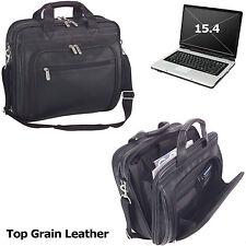 "Executive Top Grain Leather 15.4"" Laptop Portfolio Case Computer Black Men/Women"