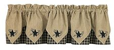 "Sturbridge Black Star Embroidered 5 Point Lined Valance 72"" x 15"" Park Designs"
