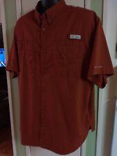 Columbia PFG Shirt Mens XL Vented Short Sleeve Rust Fishing Omnishade