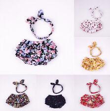 2PCS/Set Newborn Baby Girls Ear Headband+Ruffle Shorts Pants Bloomers Clothes