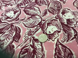"Vintage Feedsack Fabric approx 45x36"" maroon on pink lady fairy head"