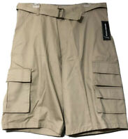 Wicked Stitch Mens Tan Khaki Cotton Blend Long Belted Cargo Shorts Size 34 New