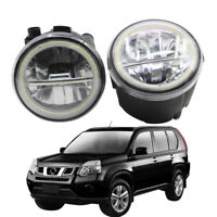 LED Fog Light + Angel Eye Rings Daytime Running Lights Fit For Nissan X-trail