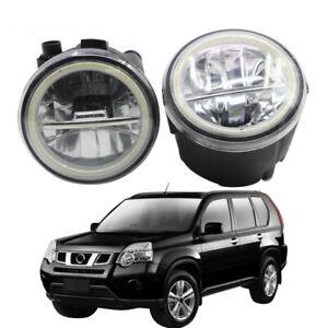 LED Fog Light + Angel Eye Rings Daytime Running Lights Fit For Nissan X-trail