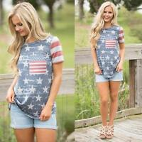 Summer Women Blouse Short Sleeve T Shirt Casual Pullover Tops American Flag Tees