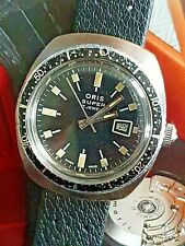 Mens Rare Vintage Grey Plated ORIS SUPER 17 Jewels Mechanical Divers Wristwatch