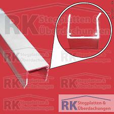 U-Abschlussprofil für 16 mm Stegplatten, Alu pressblank, 980/1200/2100 mm lang