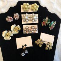 Vintage Costume Jewelry 8 pair Lot Clip On Earrings Rhinestones Enamel Flowers