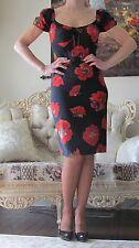 New DOLCE&GABBANA Runway Poppy Floral Print Silk dress IT 40,US 4-6/XS-S