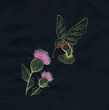 Twelve Embroidered Quilt Blocks - Rippled Hummingbirds on Black Kona Cotton