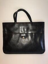 Vintage Black 50's Black Leather Structured Top Handle Hand Hinged Bag Purse