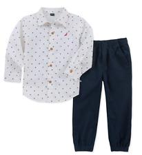 Nautica Baby Boys' 2 Pieces Shirt Pants Set Navy/White 3-6M