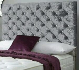 """44"""" inch Tall SAFRON DESIGN WALL HEADBOARD in Crushed Velvet & Diamate All Sizes"""