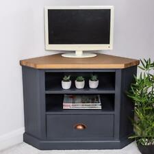 Wooden Corner Television Unit TV Cabinet Slate Blue Industrial Storage Stand
