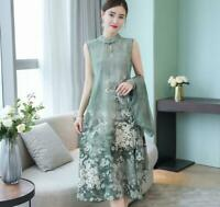 Hot Women Floral Dress Silk Long Style 3/4 Sleeves Chinese Style 2 Pieces Summer
