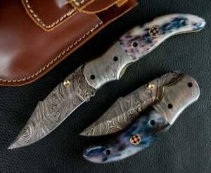 """CUSTOM HANDMADE DAMASCUS STEEL 9"""" FOLDING KNIFE, POCKET KNIFE, EDC KNIFE SKINNER"""
