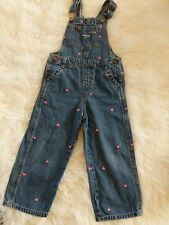 CUTE! 3T Toddler Denim Vestback Overalls OSHKOSH Embroidered Hot Pink Hearts