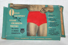 Rare Vintage Ocean Champion Nylon Swimming Trunks Red Boys sz 20 Unused