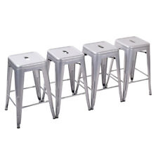 Set of 4 Metal Steel 24'' Bar Stool High Counter Top Seat Cushion Chair Silver