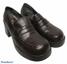Vintage 90s Mudd Sz 11 Brown Chunky Heels Shoes Platform Loafers Y2K