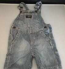 Osh Kosh B'Gosh Vestbak Denim Bib Overalls Shorts 18 Months Striped Shortalls