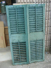 """PaiR c1880 Fixed louvered Victorian wooden house Shutters green 54"""" x 16 x 1 1/8"""