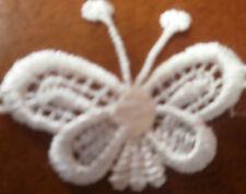 8X45/25mmAPROX DELICATE  CROCHET BUTTERFLYS IN WHITE WITH SHINE PRETTY