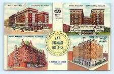 Postcard IL IN Decatur Rockford Evansville Terre Haute Van Orman Hotels J17