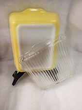 Vintage Pyrex Yellow 1 1/2 Qt Large Milk Glass Refrigerator Dish 503 & Lid