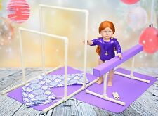 Balance Beam Uneven Bars Gymnastics Set for American Girl Doll w/mats and bags
