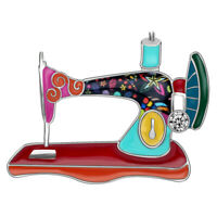 Enamel Alloy Rhinestone Sewing Machine Brooches Pin For Women Suit Jewelry Gifts