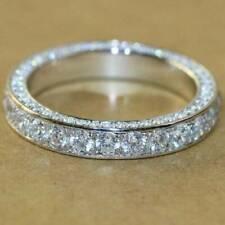 D/vvs1 Round Cut 14k White Gold Over Full Eternity Wedding Band Ring