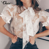 Women Floral See Sheer Club Top Ladies Mesh Blouse Puff Sleeve T Shirt Plus Size