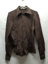 MENS IMPERIAL ITALIAN MAKE BROWN BUTTON UP SHIRT SIZE M SMART CASUAL