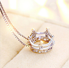 Flawless Women Girls Princess Crown Hot Silver Plated Pendant for Chain Necklace