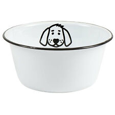 Vintage Style White Enamel Pet / Dog Food Water Bowl by Ib Laursen