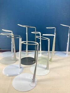 """11 USED METAL DOLL STANDS 4.5"""" BASE 7.5"""" UPRIGHT 5 KAISER WHITE 6 MISC- UNMARKED"""