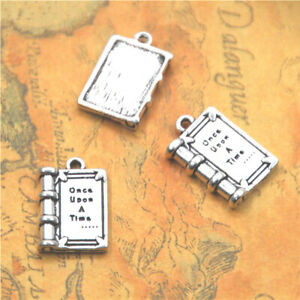 10pcs/lot Book charm silver tone Once upon a time book Charms Pendant 14X21mm